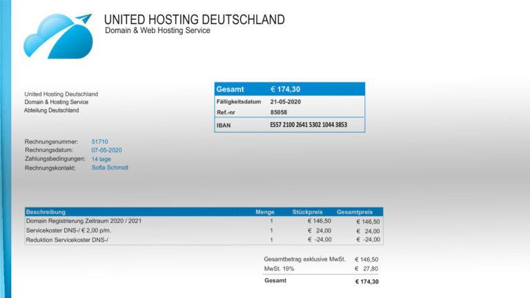 United Hosting Deutschland - Fake Rechnung